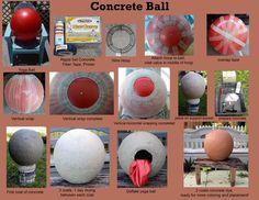 Concrete Ball using a yoga ball and fiber tape - All For Garden Concrete Dye, Concrete Crafts, Concrete Projects, Concrete Planters, Garden Crafts, Diy Garden Decor, Garden Projects, Garden Spheres, Garden Balls