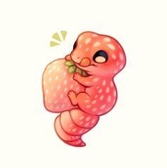 Smiles and tears, strawberry gecko! Cute Food Drawings, Cute Cartoon Drawings, Cute Little Drawings, Cute Kawaii Animals, Cute Animal Drawings Kawaii, Cute Little Animals, Cute Animals To Draw, Chat Kawaii, Kawaii Art