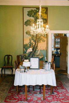 Ali and Gage's 7 guest  champagne and cake reception at the historic Gastonian B & B #reception #cake #realwedding