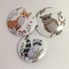 Pin back Buttons pin back owl pin pin Buttons Owl buttons