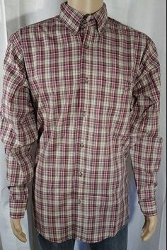 Wrangler Rugged Wear Beige Red Plaid Button Front - Large