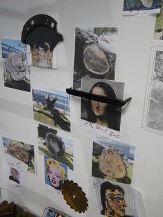 Inspirationsbeispiele, Leonardo da Vinci Mona Lisa, Andy Warhol Merlin Monroe, Klimt ... did not make it, Picasso später als ART TEC, ... diese Ausstellungswand zeigt die Denk- und Arbeitsweise des Metallkünstlers Mirko Siakkou-Flodin