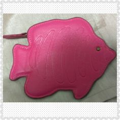 Pink Fish Coin Purse This pink faux leather fish coin purse by Coldwater Creek is adorable it is about 5 inches wide and 4 inches tall and is in great condition with the exception of some scratches on the inside. Coldwater Creek Bags Wallets