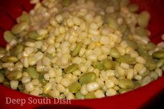 Basic succotash is a vegetable side dish made using baby lima beans and corn. For creaminess, heavy cream can be added toward the end. For triple succotash a can of stewed or diced tomatoes is included.