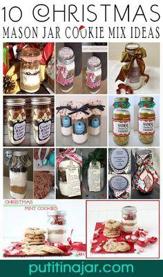 10 DIY Mason Jar Christmas Cookie Mix Gift Ideas | Tutorial | via putitinajar.com