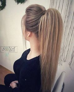 38 Charming Ponytail Hairstyles Ideas With Sophisticated Vibe Haar Ideen Face Shape Hairstyles, Weave Hairstyles, Wedding Hairstyles, Cool Hairstyles, Long Ponytail Hairstyles, Ponytail Hairstyles Tutorial, Hairstyle Ideas, Teased Ponytail, Hairstyle Men