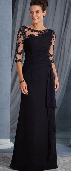 Illusion Bodice three fourths Length Sleeves Lace Chiffon Long Mother of The Bride Dresses