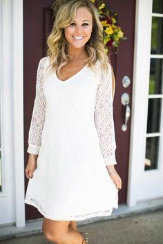 Do you know a bride to be? Graduate? This is the perfect dress for any occasion! We love how this dress can be worn in both the spring and summer! Cortney is shown wearing a small. *Fits true to size