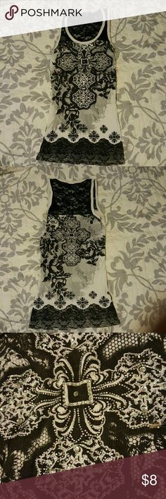 Bling tank top Lace racer back, jeweled front and back accents fits like a small local  Tops Tank Tops