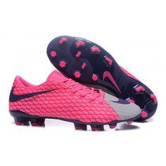 promo code 32011 98081 Barato 2017 Nike Hypervenom III FG Gris Rosado Zapatos De Futbol