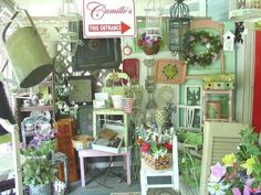 Country porch home decor. shabby style cottage chic http://www.camillesantiqueboutique.com/home-decor--accents.html