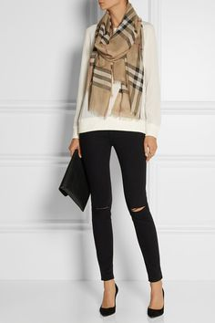 Burberry London | London checked wool and silk-blend scarf | NET-A-PORTER.COM