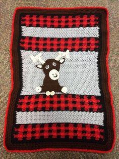 Crochet moose & plaid blanket | Woodland | Crochet, Baby ...
