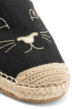 Charlotte Olympia - Kitty Embroidered Canvas Espadrilles - Black - IT