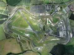 Birdseye view of the Silverstone Formula One Motor Racing Circuit, England - hubby drove a red Ferrari around part of this on one of their Driving Experience days