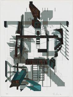 Morphosis, Santa Monica, CA, Thom Mayne, Andrew Zago. Sixth Street House project, Santa Monica, California, Isometrics and plan. 1990