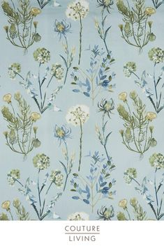Featuring a charming arrangement of flowers and plants depicted in delicate watercolour brushwork, Allium is part of the Terrace collections from Prestigious Textiles. Seen here in Slate Blue. Available as curtains or blinds, made to measure by Couture Living.