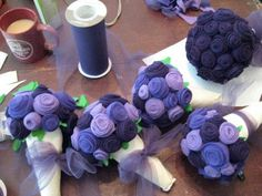 Felt flowers.  This lady made them for her wedding, but they would be pretty just sitting a vase around the house.