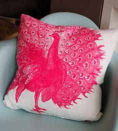 Pretty Pink Peacock Pillow