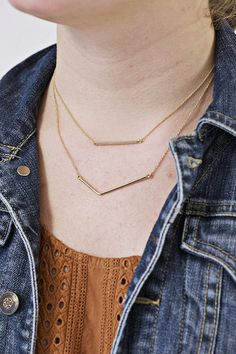 Bar Duo Pendant | This necklace is a flawless classic that will go with pretty much everything.