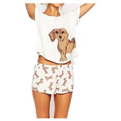 a3c974a7198 Add Pink Add Size XS Cute Women s Sets Dachshund Print 2 Pieces Set Crop Top  + Shorts Elastic Waist Stretchy Loose Plus Size