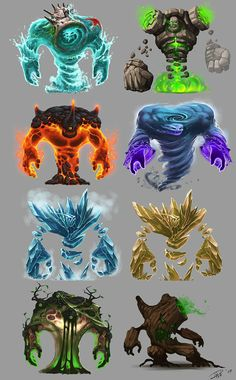 I like the way this concept art shows different creatures that represent an element. Fantasy Character Design, Character Concept, Character Art, Fantasy Monster, Monster Art, Creature Concept Art, Creature Design, Fantasy Kunst, Fantasy Art