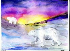 that artist woman: How to Paint Polar Bears - saran wrap for the ice, salt for snow, acrylic paint or contact paper for the bears ... will make the project easier