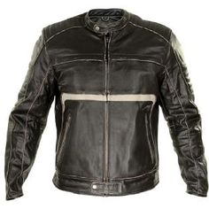 Xelement 'Charcoal' Mens Dark Brown Leather Armored Jacket - LeatherUp.ca