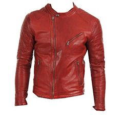 996a8ff403 Leather Madness - Mens Stylish Motorcycle Biker Red Lambskin Leather Jacket  Genuine slim fit (XXS)