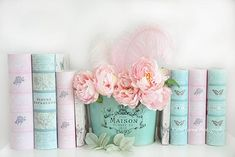 Kathy Fornal - Dreamy Shabby Chic Paris Peonies Books Print - Pink Teal Peonies and Books Shabby Cottage Chic Decor Shabby Chic Pink, Fleurs Style Shabby Chic, Flores Shabby Chic, Cottage Shabby Chic, Shabby Chic Bedrooms, Shabby Chic Homes, Shabby Chic Colors, Romantic Bedrooms, Small Bedrooms