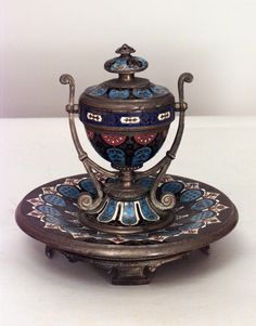 French Victorian accessories inkwell enamel