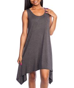 Love this Charcoal Sleeveless Sidetail Dress on #zulily! #zulilyfinds
