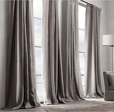 Belgian Textured Linen Drapery: Remodelista Family Room, Home Decor, Darkness, Blinds, Tejidos, Homemade Home Decor, Family Rooms, Interior Design, Decoration Home