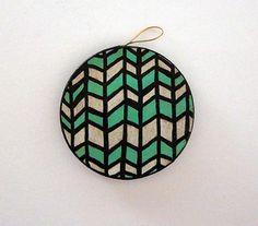 Herringbone Circle Ornament by HomeDecorKATNAWLINS on Etsy, $7.50