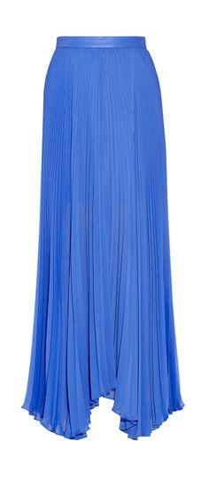 ALICE + OLIVIA - Ava leather-trimmed chiffon maxi skirt, Cobalt blue maxi skirt