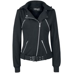 Hooded zip with 4 zipped pockets on the front. The hood can be taken off by a zipper. The jacket features belt loops, the double hole belt is not sewn to the jacket and can be adjusted. With 4 poppers ...