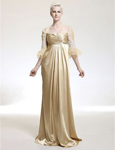 Image detail for -gold 3 4 sleeves pleated bodice evening dresses by helen