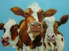 Cows painting animals 466  30x40 inch original portrait oil painting by Roz