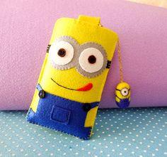 Custom Handmade Minions cell phone pouch by HoneyCraftsupplies