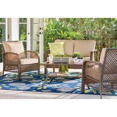 Beachcrest Home Tribeca 4 Piece Rattan Sofa Seating Group with Cushions Frame Color: Driftwood Patio Furniture Sets, Wicker Furniture, Rustic Furniture, Living Room Furniture, Home Furniture, Furniture Design, Industrial Furniture, Furniture Logo, Asian Furniture