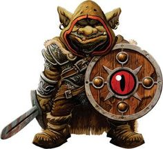 Goblin soldier bearing the symbol of the lidless eye on his shield.