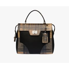 PRADA Top Handle ($2,450) ❤ liked on Polyvore featuring bags, handbags, camel tartan motif, women, zipper purse, purse, camel purse, top handle purse and plaid handbags