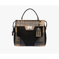 PRADA Top Handle (3,230 CAD) ❤ liked on Polyvore featuring bags, handbags, camel tartan motif, women, zipper handbag, plaid handbags, locking purse, flap purse et flap handbags