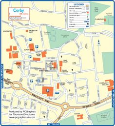 Map of Corby created in 2011 for Thomson Directories. One of approximately 350 UK town and city maps produced royalty free. Find out more...  http://www.pcgraphics.uk.com   or read our blog...    http://www.pcgraphics.uk.com/blog/