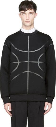 Long sleeve neoprene sweatshirt in black. Ribbed crewneck collar, cuffs, and hem. Basket-ball themed finishing throughout in tonal glossy tape. Tonal stitching.
