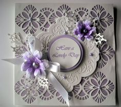 ......by Marjorie Ramsay -Glitter card background - Ravello Striplet - Maggie - Lace Edged Leaves - FSS flowers Hand Made Greeting Cards, Making Greeting Cards, Greeting Cards Handmade, Veronica, Spellbinders Cards, Paper Flower Tutorial, Shaped Cards, Glitter Cards, Heartfelt Creations
