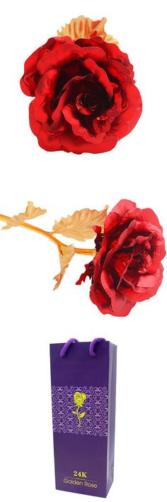 Valentine Gifts: Golden + Red Valentine S Day Gift Dipped In 24K Gold Artificial Rose Flower -> BUY IT NOW ONLY: $10.47 on eBay!