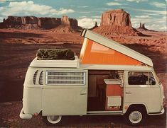 "1968 VW Bus with orange pop up- SO many memories! Went all over Europe with the Fam in this! ""Papa's Camper!"""