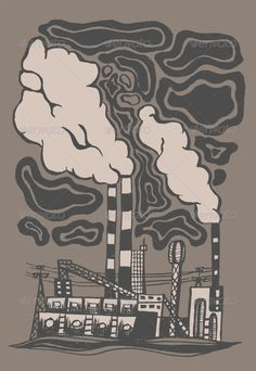 Factory  #GraphicRiver         Toxic Factory. Vector Illustration. Computer…