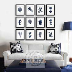 Navy Blue Wall Decor, Sealife Decor Set of 12 Prints, Summer Beach Home Decor, Coastal decor Beach living room decor, bedroom decor